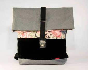 GREY FLOWERED large backpack / Upcycling bagpack