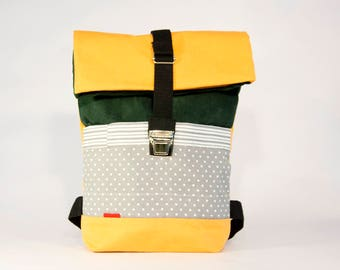 Polka dots small backpacks / Upcycling bagpack