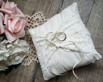 Ring Bearer Pillow - Ivory | Wedding Ring Pillow | Ring Bearer Cushion | Ring Pillow | Ring Cushion