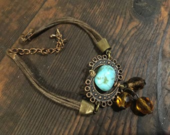 Boho Bracelet made with re-used components, turquoise, copper, glass, cord