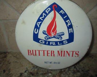 Vintage Camp Fire Girls butter mints  candy tin