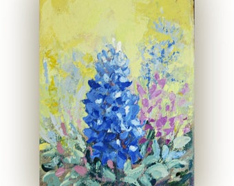 bluebonnets painting, flower painting bluebonnets wall art painting acrylic impasto palette knife, contemporary floral artwork small canvas
