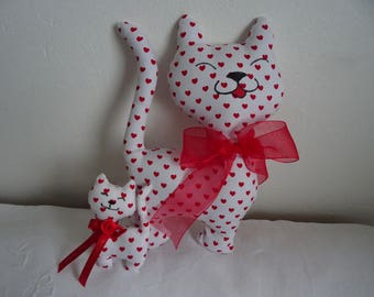 CAT and kitten deco fabric white red hearts