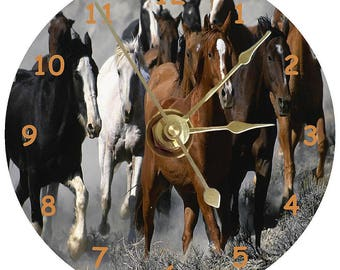 Horses on a cd clock face can be personalised plus stand