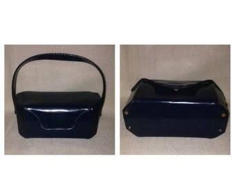 On Sale Vintage Blue Patent Leather Handbag
