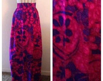 Anniversary Sale Vibrant Vintage Purple and Blue Floral Skirt