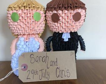 3D Origami Wedding Couple  Mini Figure