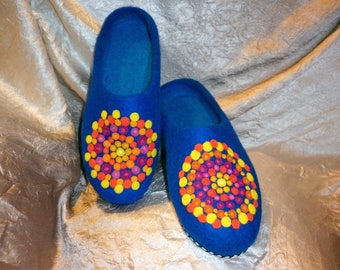 Blue Mandala Art Wool Felted Shoes House Slippers Rainbow Felt Clogs Hippie Clothing Zen Yoga Gift Bright Painting Colors Mother Flats Gift