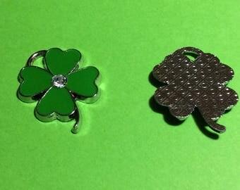 Lucky Shamrock Charm.  Four-leafed Clover Charm. Green/Silver Enamel x 3