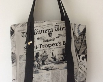 Tote cotton thick woven papers, lined