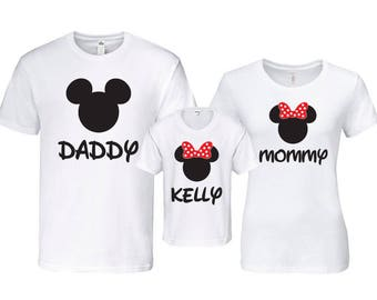 Disney Family Shirts - Matching Family Shirts - Family Vacation Shirts - Personalized with Custom Name - Mickey Minnie Shirt