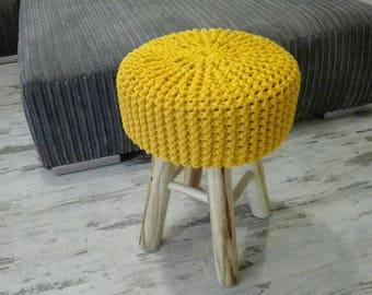 Knitted Stool, Pouf - colours,yellow, Seat, Crochet Pouf, ottoman, footstool
