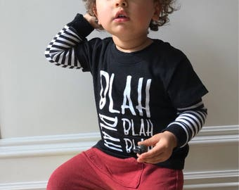 SALE 40%, Funny kids Tee, Graphic Baby Boy Top, Toddler T Shirt, Funny boy T, Pop Quote Baby top, Black baby top, Pop Girls Tee, Bla Bla Bla