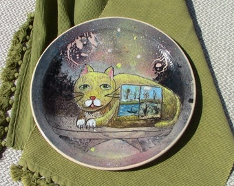 pottery plate cat rustic ceramic plate pottery plates clay pottery plate hand built plate wheel thrown plate rustic plate ceramic tray clay