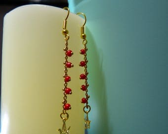 Earrings Golden red seed bead chain & Origami