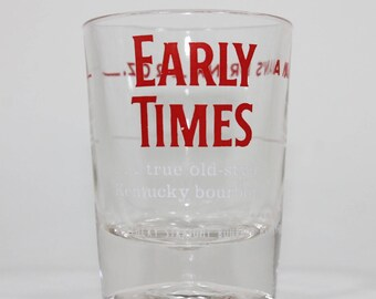 "Kentucky Bourbon ""Early Times – true old style Kentucky bourbon"" Shot Glass, 1980s Vintage"