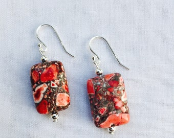 925 Sterling Silver Red Sea Sediment Natural Gemstone Earrings