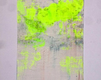 Abstract Painting Small Wall Original Art Neon Yellow Textured Acrylic on Canvas Board 5'' x 7'' Small Wall Painting