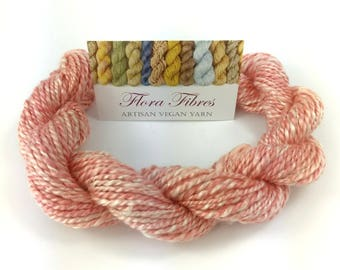 """Hand spun naturally dyed vegan rose seacell bamboo tencel 2 ply DK weight yarn """"A Study in Pink"""" for knitting crochet weaving UK"""