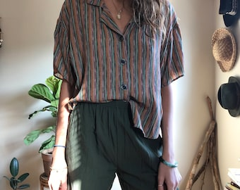 vintage mutlicolor short sleeve button down, short sleeve button down, vintage short sleeve button down, vintage multicolor blouse