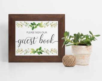 Laurel Guest Book Sign, Laurel Wreath Wedding Guest Book Sign, Eucalyptus Gold Guest Book Sign, Wedding Sign In Book, Guest Book Alternate