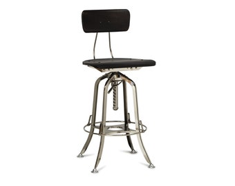 Bar Stool Chair with Back Kitchen Breakfast Counter Wooden Iron Stool