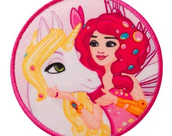 Patch / patch - MIA and me horse & Mia comic children - pink - Ø5, 9 cm - patch application applications to the iron application patches patch