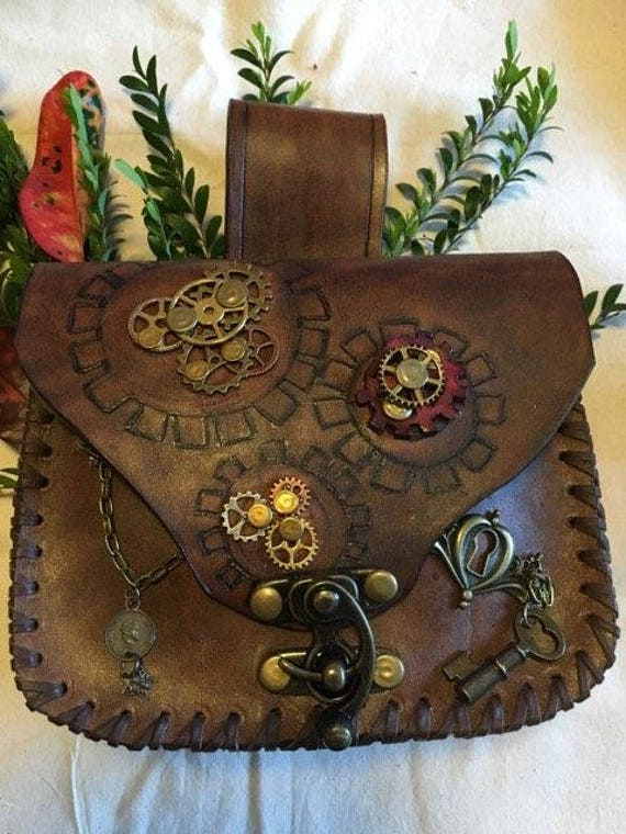Steampunk belt pouch Bag, #5 Hand tooled one of a kind. Cogs and gears chains by Freylj steampunk buy now online