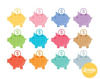 Piggy Bank Clipart for Commercial Use - C0102
