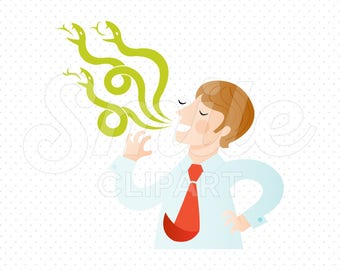 MAN TELLING LIES Clipart Illustration for Commercial Use | 0056