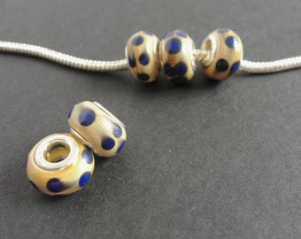 Tan and Blue Glass European Beads -  Set of 5