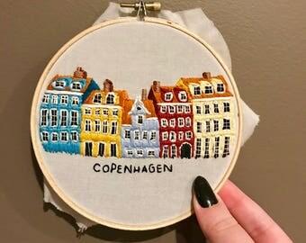 Copenhagen Denmark Nyhavn Building Embroidery Art