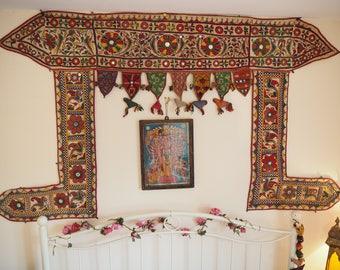 Huge Rare Vintage Indian Gujarat Antique Holy Paniyaro Textile Wall Hanging Toran Hippie Boho Ethnic Mirrored Embroidered Doorway Hanging