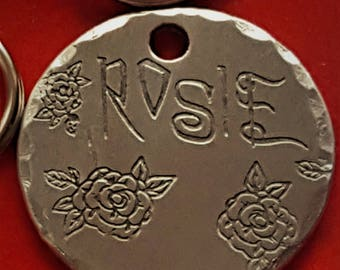 HandmadeA48-Free Shipping-Cat Tag-Dog Tag -Dog ID Tag - DOG Name Tag - Handmade BRASS Pet Tag Hand Stamped