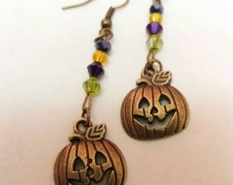 Halloween bronze pumpkin drop earrings with bicone beads