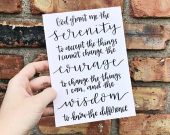Serenity Prayer Hand Lettered Print on White Cardstock Paper - Modern Calligraphy Quote Sign