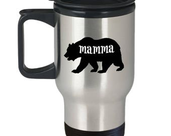 Mamma Bear Travel Mug - Mamma Gift - Funny Insulated Tumbler Coffee Cup For Mom