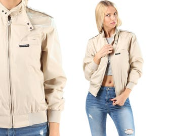 Members Only Jacket 1980s Windbreaker Beige Bomber Cafe Racer Hipster Shell Light Vintage 1980s Lightweight Beige Small