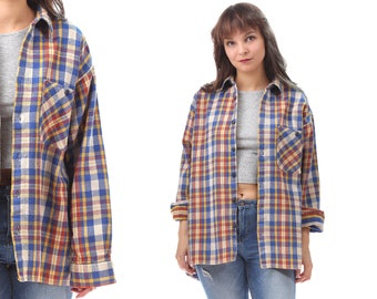 Plaid Flannel Shirt 80s Grunge Flannel Button Down DISTRESSED Thick Vintage Long Sleeve Women Men Red White Blue Oversized Retro Large Xl