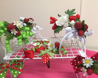 Strawberry hair accessories including hair clips and headbands
