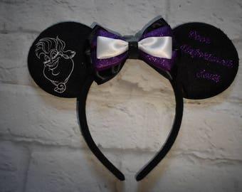 Ursula inspired mouse ears, poor unfortunate soul, Disney inspired mouse ears, Disney villains, the little mermaid, mickey ears, Minnie ears