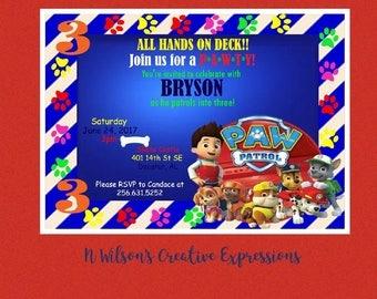 Paw Patrol 1st, 2nd, 3rd, 4th Birthday Invitation, Invite