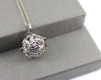 """Flower """"Forget me Not"""" Locket with Fillable Glass Orb, Memorial Jewellery, Urn Locket, Cremation Necklace, Fillable Jewellery"""