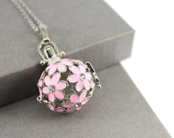 Pink Daisy Locket with Fillable Glass Orb, Memorial Jewellery, Memorial Locket, Urn Locket, Cremation Jewelry, Cremation necklace