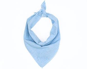 Light Blue Chambray Bandana // Scarf // Wrap // Blue Denim // Headband // Neckerchief // Neck Tie