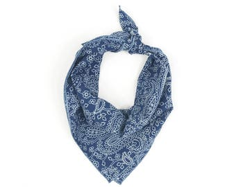 Navy Blue Paisley Pattern Bandana Block Printed// Scarf // Wrap // Headband // Neckerchief // Neck Tie