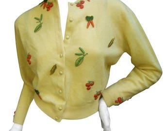 Rare Buttercup Yellow Cashmere Vegetable Theme Cardigan. Dalton. 1960's.