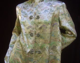 Chinoiserie Sumptuous Satin Illustrated Evening Jacket c 1960
