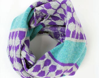 Cashmere knitted cowl - luxury pattern snood - raindrop fairisle pattern - wool cashmere cowl - grey purple turquoise - machine knitted