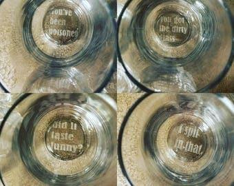 Hidden message drinking glasses!